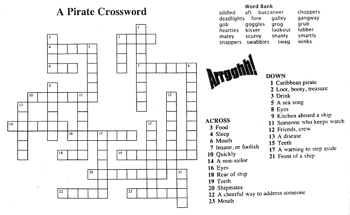 Pirate Crossword Free Teaching Tool For A Pirate S Guide To First