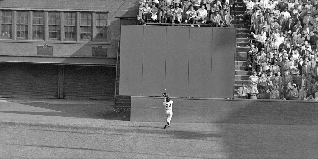 "Willie Mays, ""the catch,"" from the 1954 World Series. Arguably the greatest play in the history of center field."