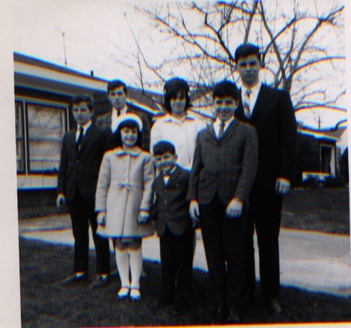Here's the seven Preller children in 1966. I'm the short one in the middle, surrounded by GIANTS!