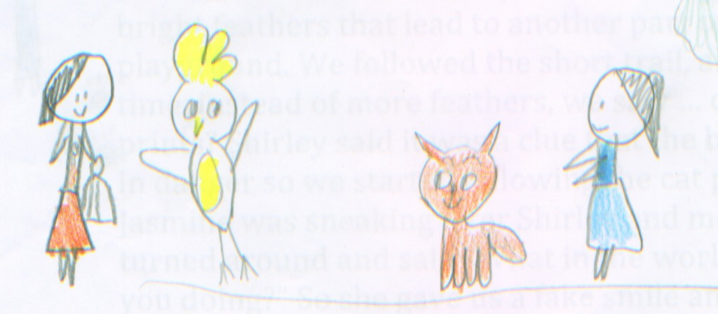 "Art by Irene and Shirley, from ""The Case of the Missing Cockatoo."""