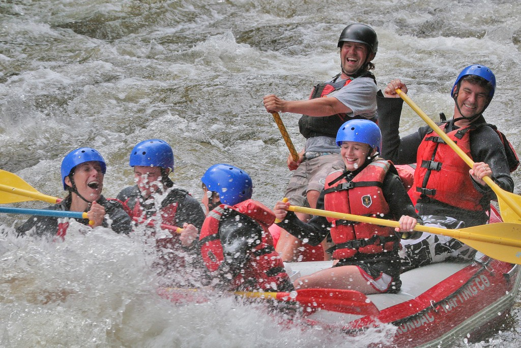 A photo from a few years back, rafting the rapids on the Hudson River, guided by my dauntless nephew, Dan Rice. In that boat, that's Lisa's with mouth agape, and I'm in the back right. Also in the boat, my three kids: Nick (behind Lisa), Gavin (front), and Maggie, smiling. Good times.