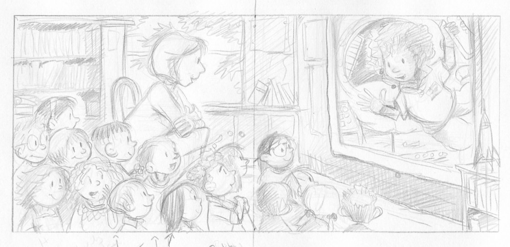 Rough sketch from THE CASE FROM OUTER SPACE (Macmillan, August 2017).