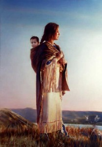 Sacagawea on the trail with her son, Jean Baptiste Charbonneau, nicknamed Pompy.
