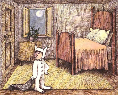 Stuck in a room, another famous children's book character had to imagine his escape from boredom. Illustration by Maurice Sendak from WHERE THE WILD THINGS ARE -- but everybody knows that.
