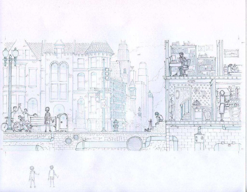 Pencil sketch, opening spread.