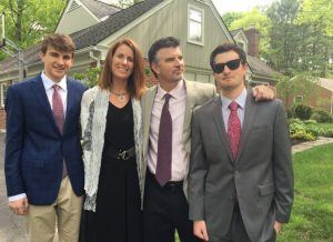 This is my family, minus Maggie, who is the prettiest of all. Gavin, Lisa, JP, and Nick. These are not our normal clothes. We are headed to a wedding.