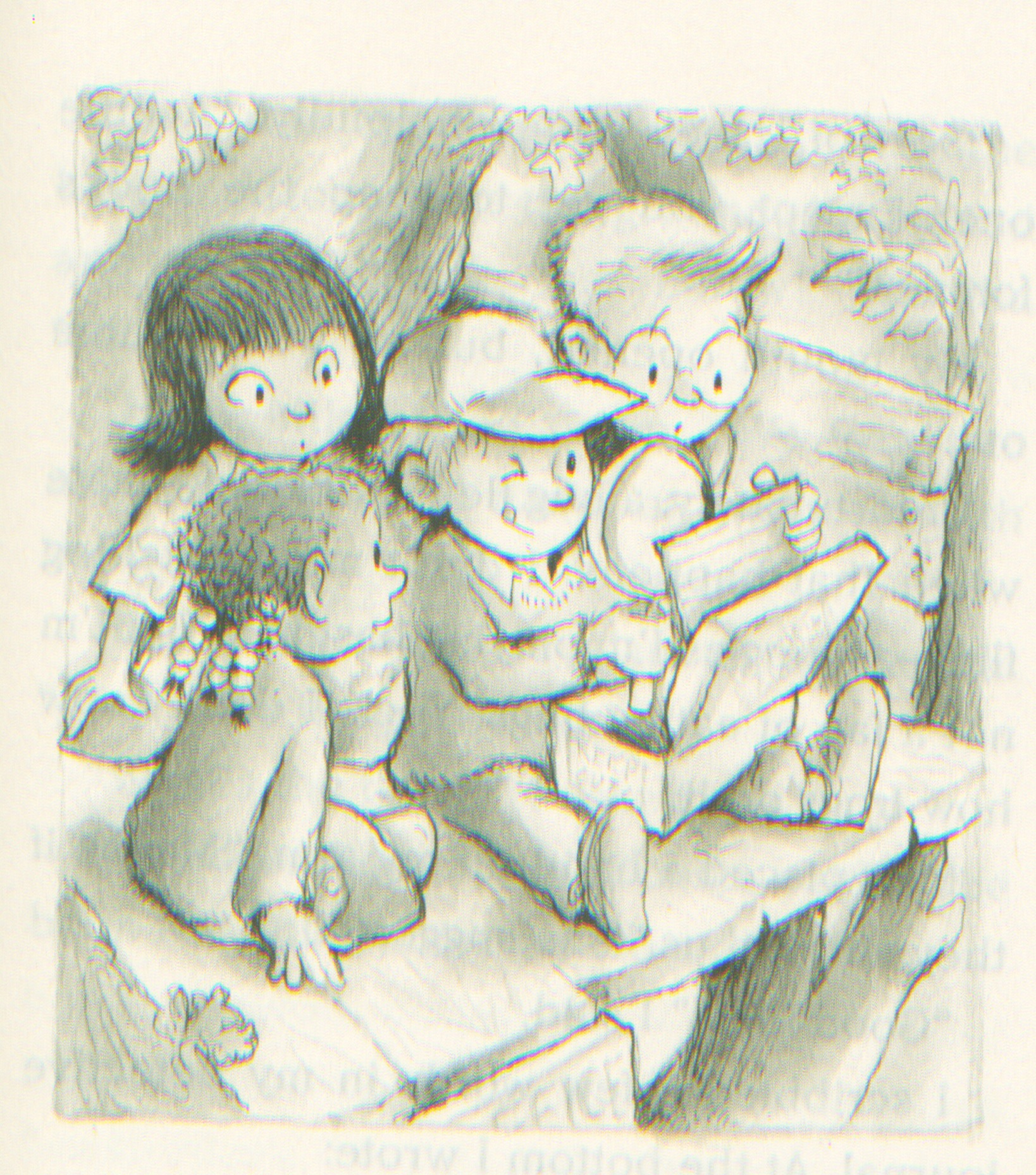 Up in the treehouse with Danika, Mila, Jigsaw, and Joey. Illustration by R.W. Alley from THE CASE FROM OUTER SPACE.