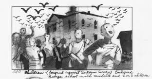 "A freaky, zombie-esque storyboard from Hitchcock's ""The Birds."""